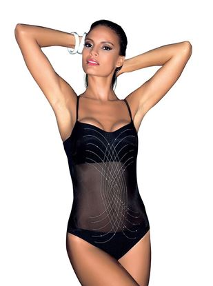 Amarea art A018 - Mesh Inset One-piece Swimwear